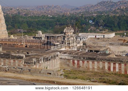 View from the hill on the operating temple in Hampi
