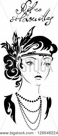 Stylish retro beautiful model for fashion design. Hand-drawn graphic illustration. Portrait of pretty woman with feathers on her head . Sketch drawing, elegant vector style.