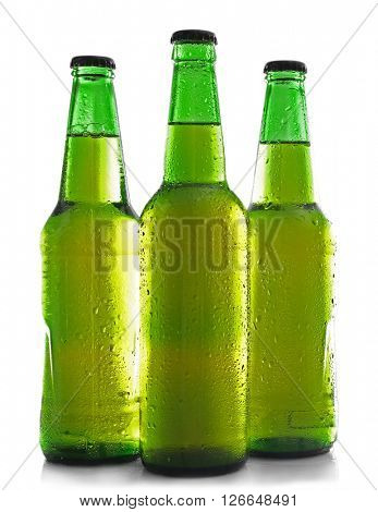 Bottles with fresh beer isolated on white