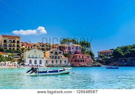 ASSOS TOWN, KEFALONIA ISLAND, GREECE - JULY 12 2015: Bay of Assos with boats and yachts.