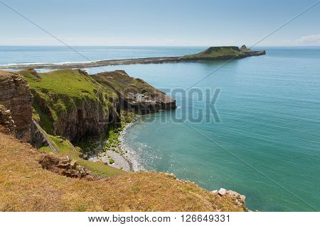 Worms Head Rhossili The Gower peninsula Wales UK small tidal island which you can walk to at low tide