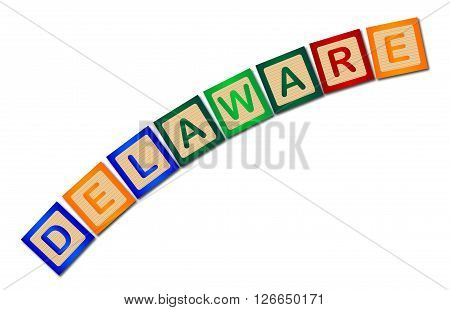 A collection of wooden block letters spelling Delaware over a white background