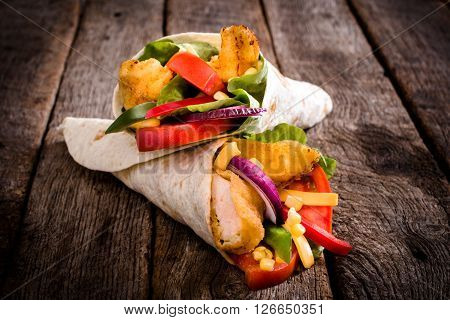 Fried Chicken Wrap Sandwich