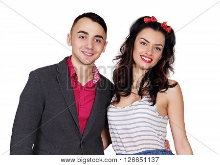 Young beautiful cheerful couple isolated on white background