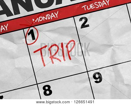 Concept image of a Calendar with the text: Trip