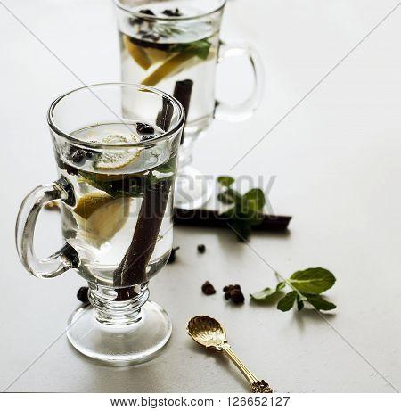 Tea With Mint, Cinnamon And Lemon