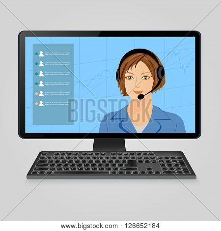 Speaking woman with headphones on computer monitor screen. Call center, online  customer  live support, webinar and training on the web and online education concept. Vector illustration.