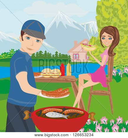 couple outdoor grilling meat on the park , vector illustration