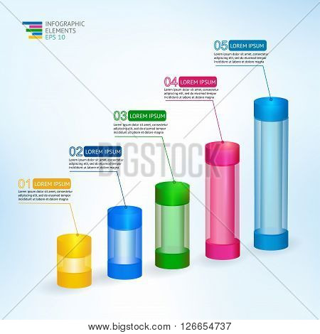 vector 3D  illustration infographic for statistics,  analytics, financial reports, presentation and web design with transparent growing graph multicolor. Infographic design template and marketing icon