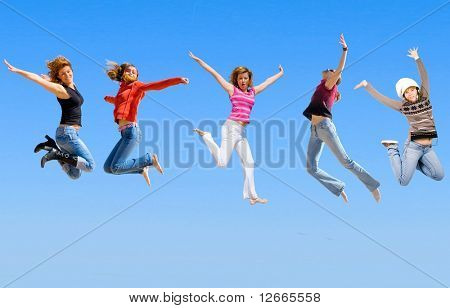 five jumping girls