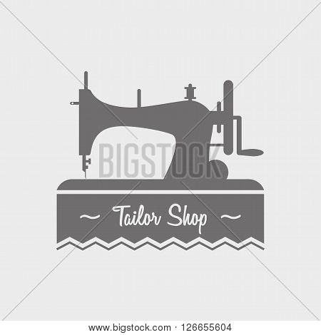 Tailor Shop Label, Logo, Emblem Or Designed Element With Sewing Machine.