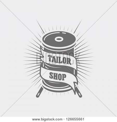 Vector Logo Or Label Template For Tailor Shop And Sewing. Two Needles And Spool Of Thread