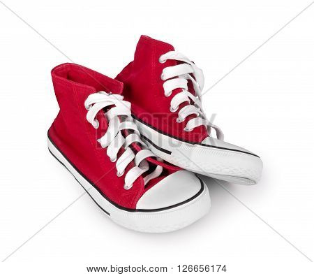 vintage red sneakers isolated on white background