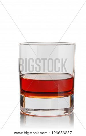 glass of brandy on a white background.