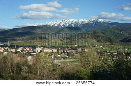 Landscape of La Seu d'Urgell, the Capital of Alt Urgell County, located in Lleida (Catalonia, Spain) with Cadi mountain covered of snow.