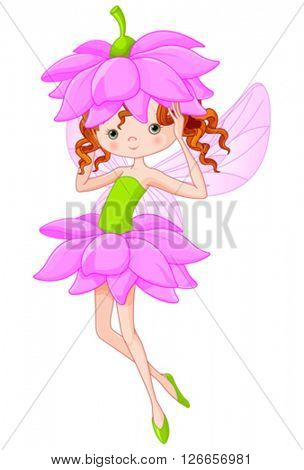 Illustration of flying beautiful summer fairy