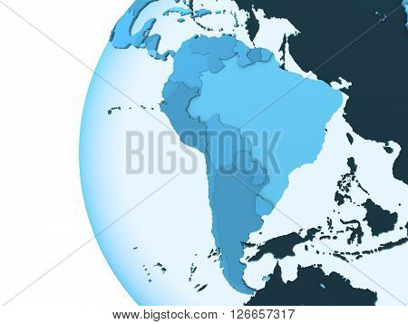 South America On Translucent Earth