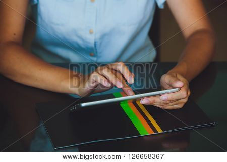Woman Working On Digital Tablet