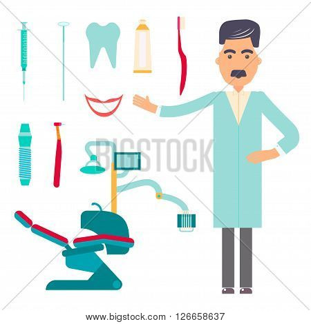 Stomatologist. Dental care flat decorative icons set with stomatologist tools teeth care products isolated vector illustration  caries clinic prosthetics tooth hygiene dentist tools