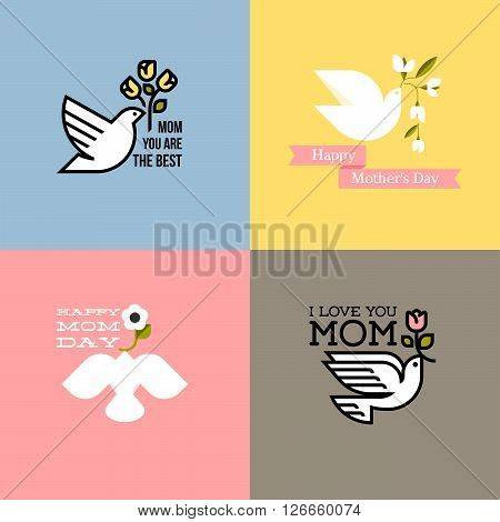 Flat style happy mothers day cards with dove pastel colored spring flowers and greeting text message