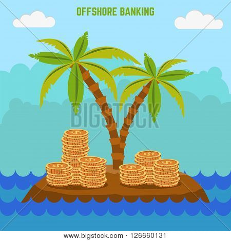 money hidden on the island in offshore zone. Tax avoidance. Panama offshore zone.