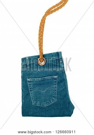 Label in the form of folded jeans. Conceptual photo