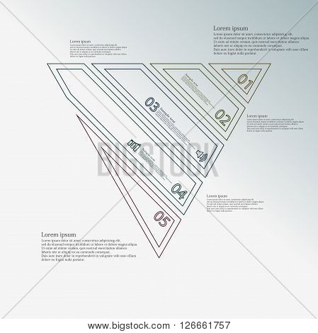 Illustration infographic template with motif of triangle which is askew divided to five color parts created by double contour outlines. Each item contains number text and simple sign. Background is blue.