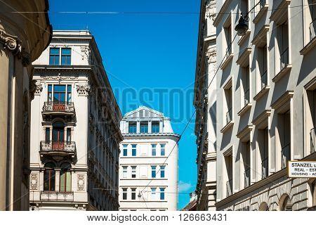 VIENNA, AUSTRIA- April 19 : Viennese Classical style building on April 19, 2016.Vienna, Austria, Europe