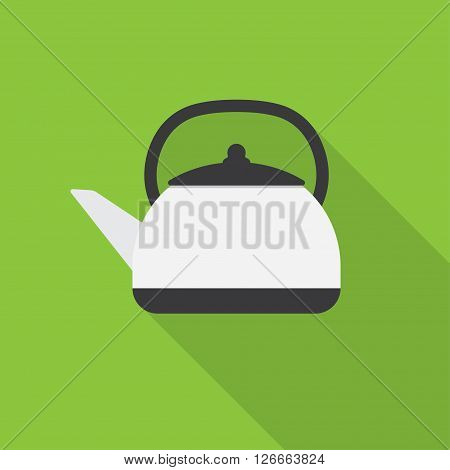 Kettle drink and handle kettle. Kettle electric appliance hot boil domestic kettle icon. Flat appliance hot kettle electric equipment. Stovetop whistling kettle kitchen teapot flat vector.