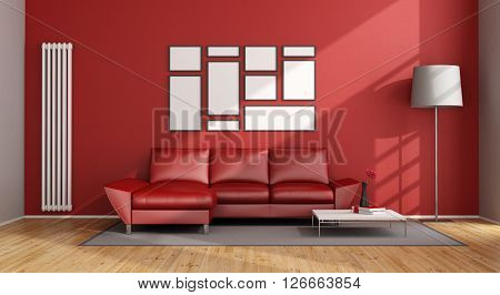 Red Living Room with modern couch and vertical heater - 3D Rendering
