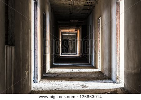 hallway in abandoned building ghost living place horror darkness halloween background