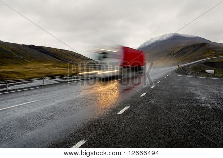 Moving Red Truck