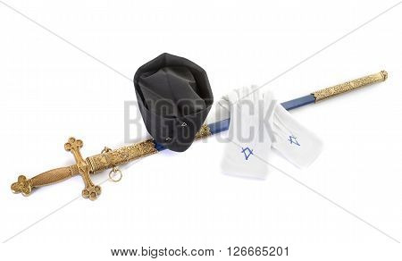 symbols of Freemasonry in front of white background
