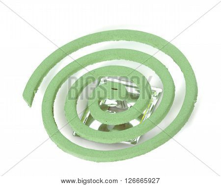 Mosquito repellent incense coils in front of white background