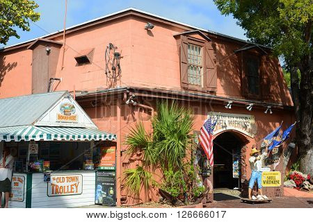 KEY WEST, FL, USA - JAN 1: Key West Shell Warehouse at Mallory Square on Jan 1st, 2015 in Key West, Florida, USA.