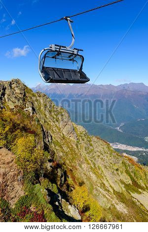 Cableway in the scenic mountains at the autumn, Sochi, Russia.