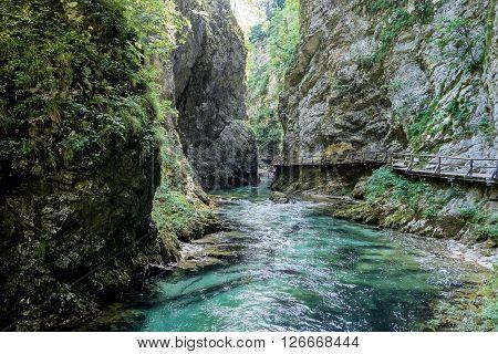 River Radovna between rocks in Vintgar pass