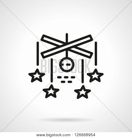 Astronomy science and space research theme. Abstract model of stars galaxy. Star mobile. Simple black line vector icon. Single element for web design, mobile app.
