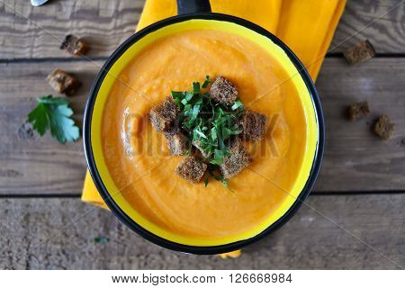 puree soup of celery and pumpkin with rye croutons