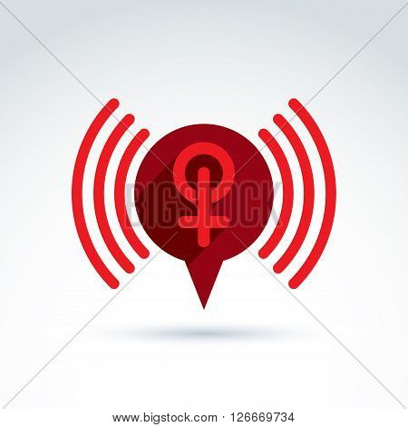 Speech bubble with a red female sign female gender symbol. Lesbian or woman club conceptual icon, chat on a relationship theme podcast icon.
