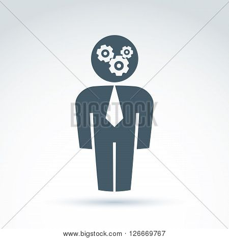 White collar team worker man icon with gears system conceptual vector symbol.