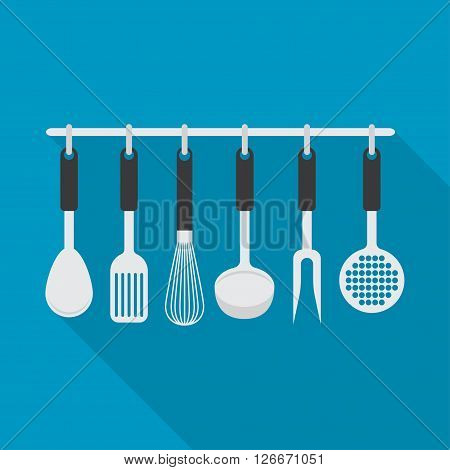 set with different types of kitchen accessories. Kitchen theme.