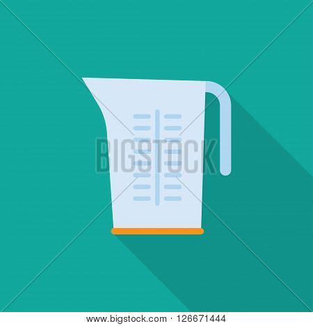 Kitchenware measuring cups flat icon with long shadowcircle