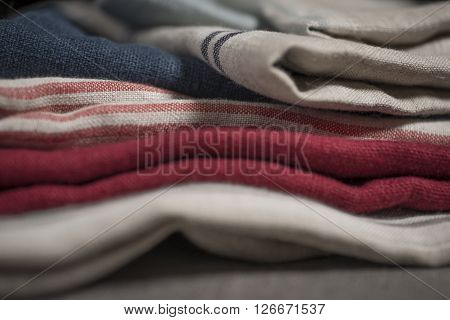 Fabric Swatch Of Striped And Plain Cloth Stack