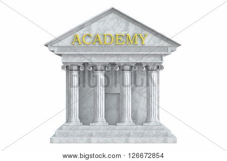 Academy building with columns 3D rendering isolated on white background