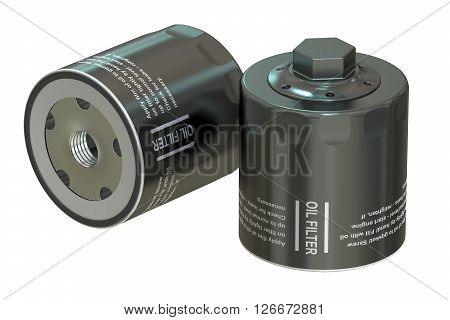 Car Oil filters 3D rendering isolated on white background