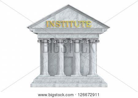 Institute building with columns 3D rendering isolated on white background
