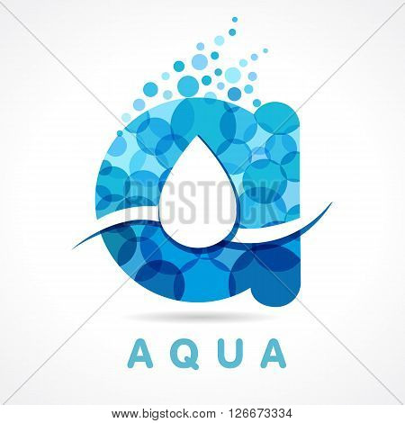 Letter A water drop logo icon design template. Aqua drop A letter logo