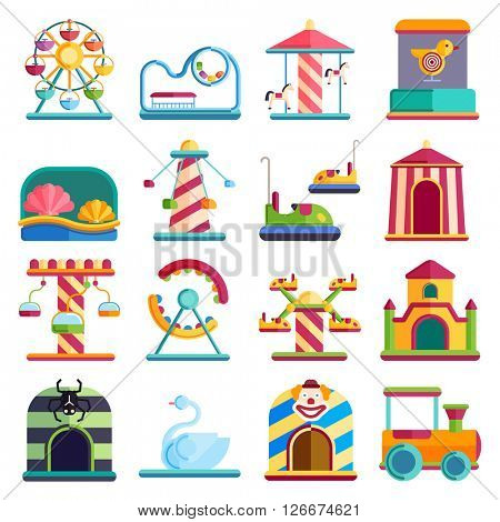 Flat design conceptual city elements with carousels amusement park vector illustration.