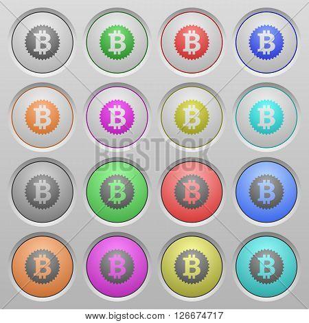 Set of Bitcoin sticker plastic sunk spherical buttons.
